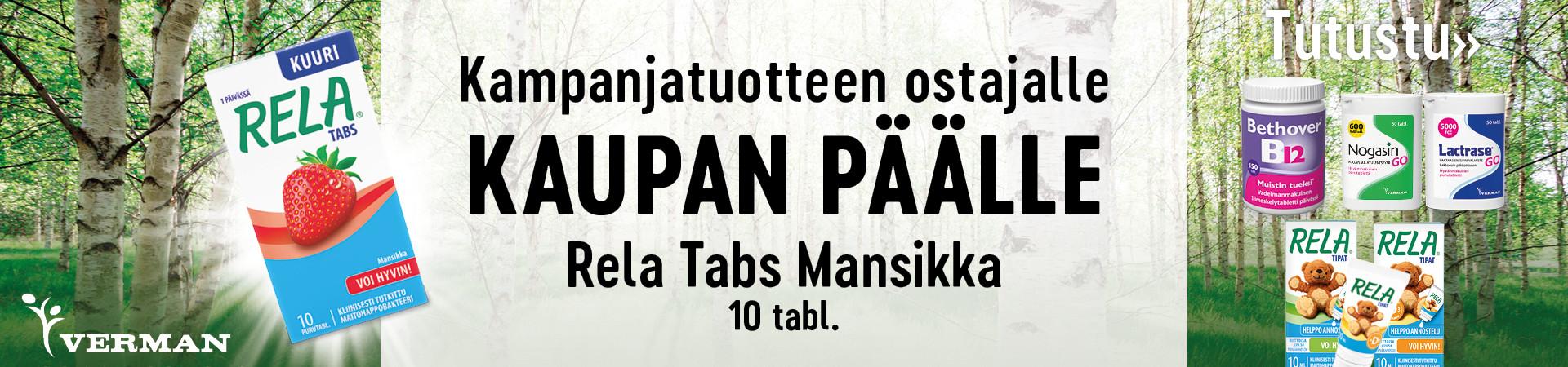 Kampanjatuotteen ostajalle 10 tabletin Rela Tabs kaupan päälle